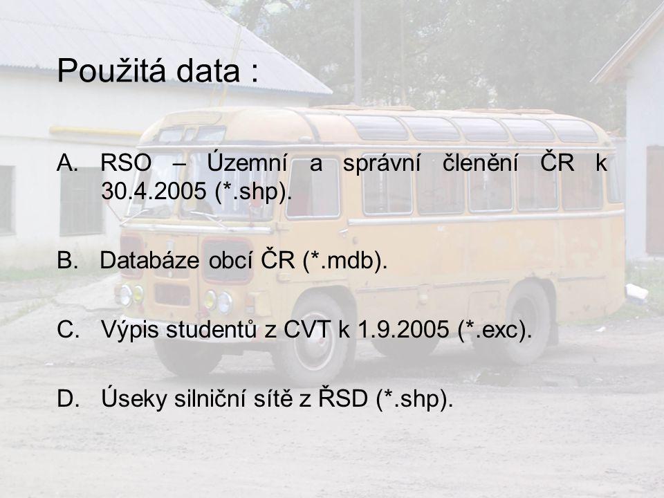 Použitá data : A.RSO – Územní a správní členění ČR k 30.4.2005 (*.shp).