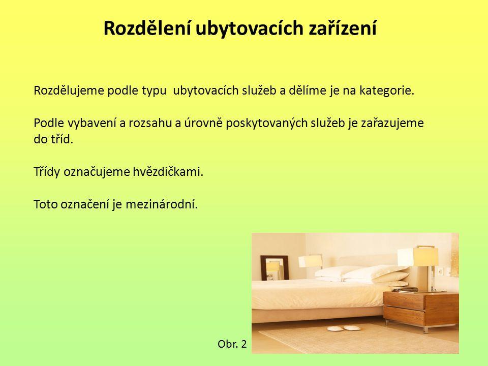 Rozdělení ubytovacích zařízení Rozdělujeme podle typu ubytovacích služeb a dělíme je na kategorie. Podle vybavení a rozsahu a úrovně poskytovaných slu