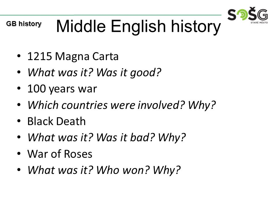 Middle English history 1215 Magna Carta What was it? Was it good? 100 years war Which countries were involved? Why? Black Death What was it? Was it ba
