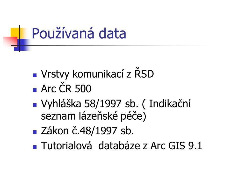 Používaná data Vrstvy komunikací z ŘSD Arc ČR 500 Vyhláška 58/1997 sb. ( Indikační seznam lázeňské péče) Zákon č.48/1997 sb. Tutorialová databáze z Ar
