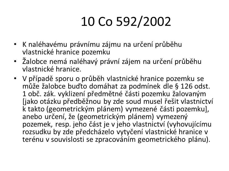 10 Co 592/2002 K naléhavému právnímu zájmu na určení průběhu vlastnické hranice pozemku Žalobce nemá naléhavý právní zájem na určení průběhu vlastnick