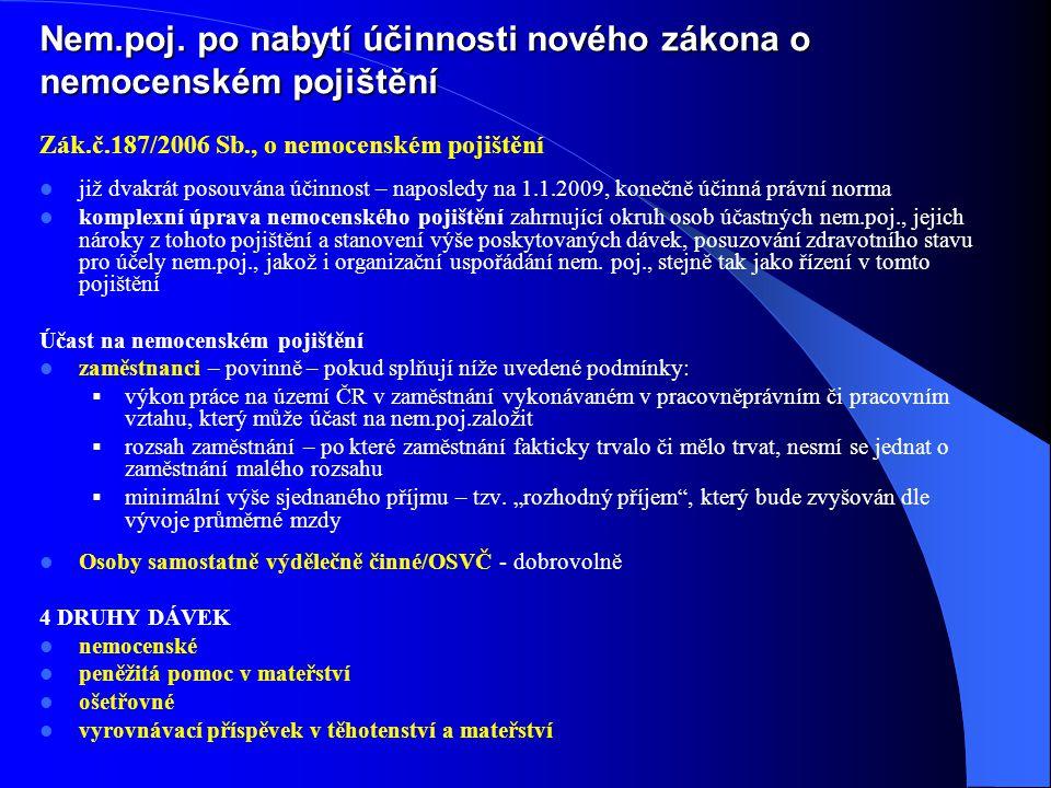 Zák.č.187/2006 Sb., o nemocenském pojištění již dvakrát posouvána účinnost – naposledy na 1.1.2009, konečně účinná právní norma komplexní úprava nemoc