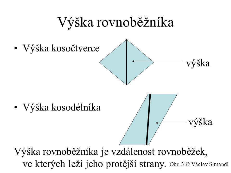 Výpočet obsahu Obsah rovnoběžníka je roven součinu velikosti strany a její příslušné výšky.