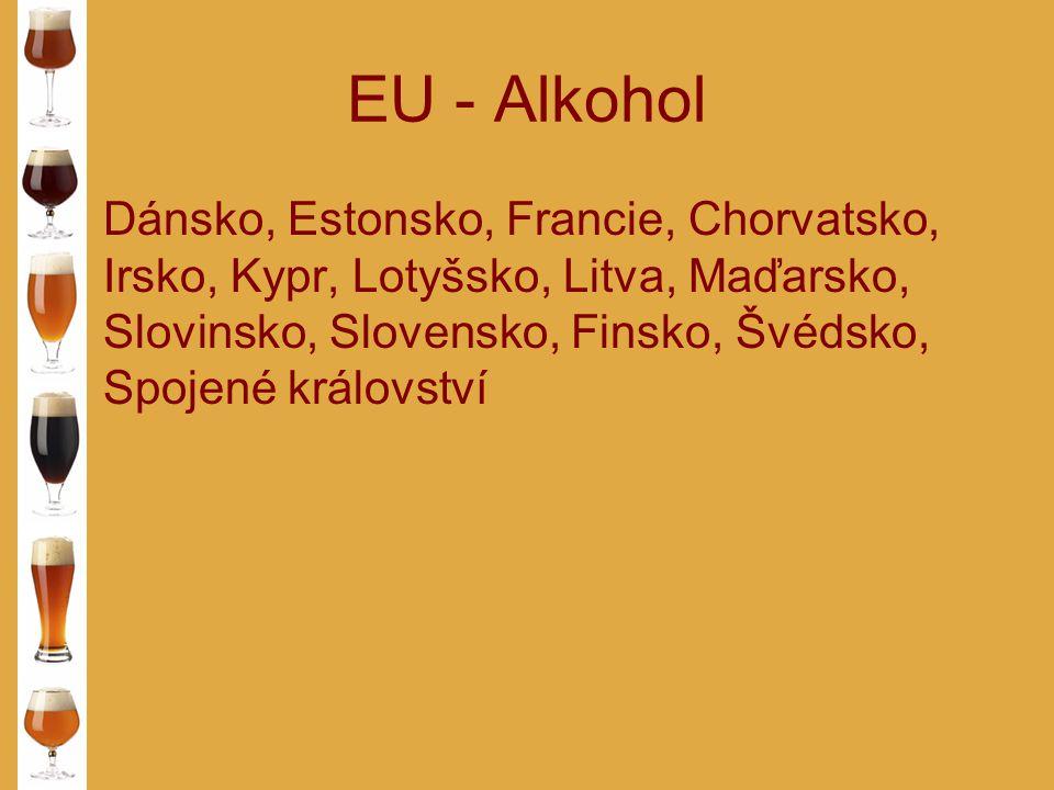 EU - Alkohol Dánsko, Estonsko, Francie, Chorvatsko, Irsko, Kypr, Lotyšsko, Litva, Maďarsko, Slovinsko, Slovensko, Finsko, Švédsko, Spojené království