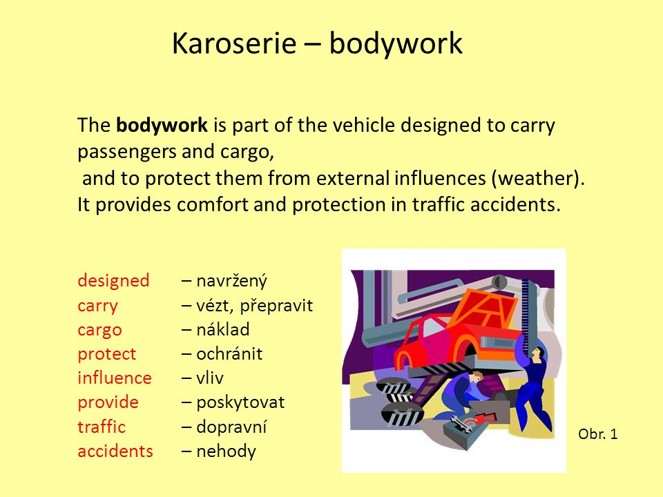 Karoserie – bodywork The bodywork is part of the vehicle designed to carry passengers and cargo, and to protect them from external influences (weather