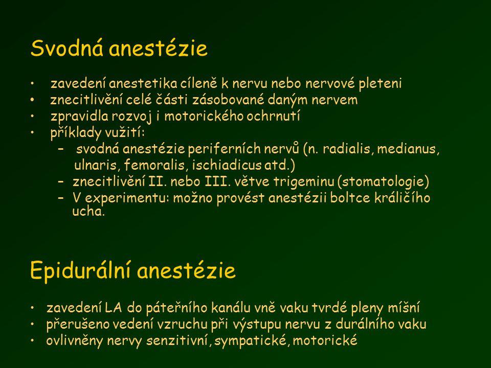 Svodná anestézie zavedení anestetika cíleně k nervu nebo nervové pleteni znecitlivění celé části zásobované daným nervem zpravidla rozvoj i motorického ochrnutí příklady vužití: – svodná anestézie periferních nervů (n.