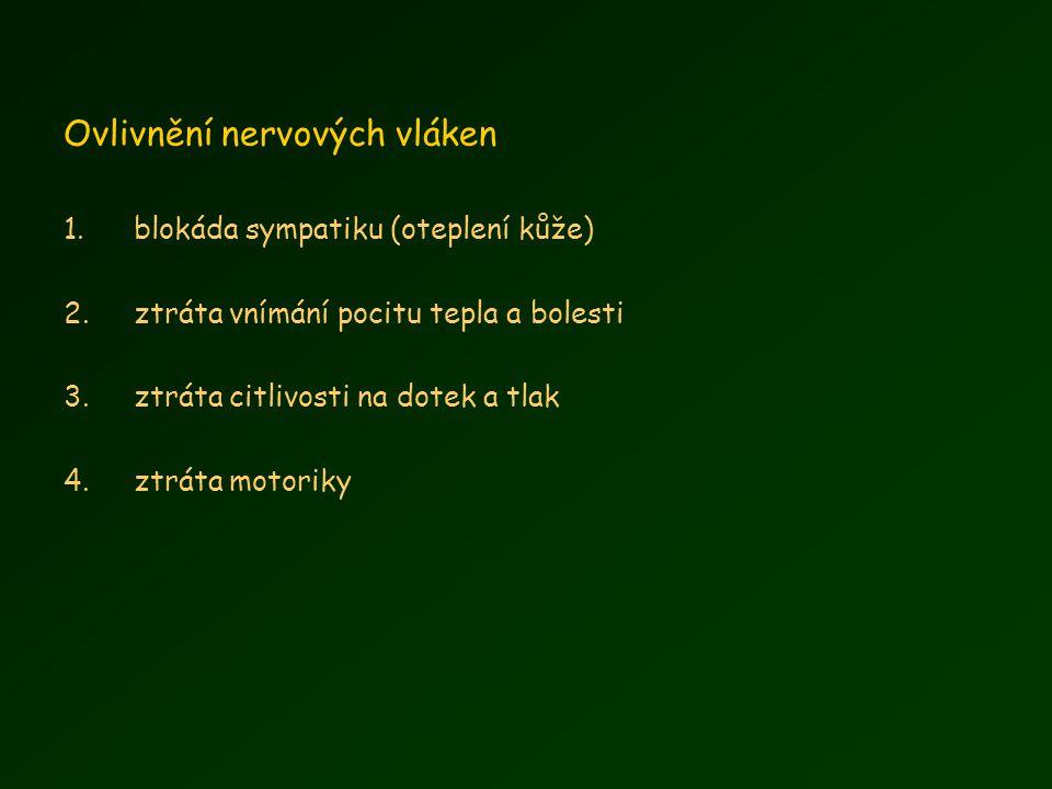 Ovlivnění nervových vláken 1.blokáda sympatiku (oteplení kůže) 2.ztráta vnímání pocitu tepla a bolesti 3.ztráta citlivosti na dotek a tlak 4.ztráta motoriky