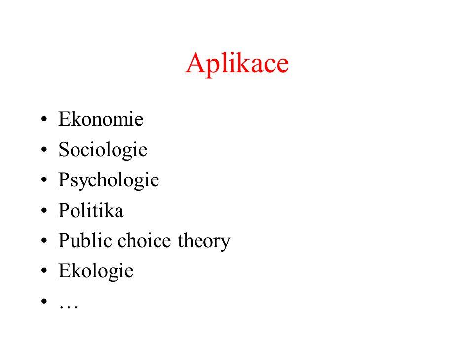 Aplikace Ekonomie Sociologie Psychologie Politika Public choice theory Ekologie …