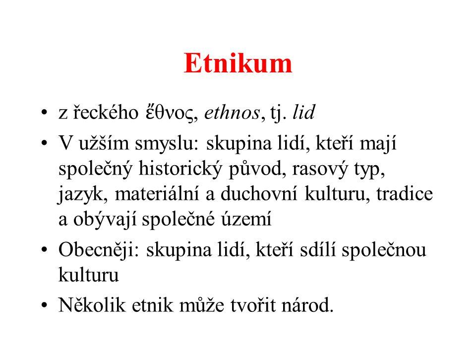 Etnikum z řeckého ἔ θνος, ethnos, tj. lid V užším smyslu: skupina lidí, kteří mají společný historický původ, rasový typ, jazyk, materiální a duchovní