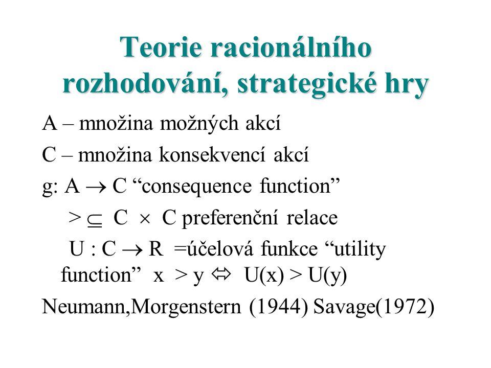 Teorie racionálního rozhodování, strategické hry A – množina možných akcí C – množina konsekvencí akcí g: A  C consequence function >  C  C preferenční relace U : C  R =účelová funkce utility function x > y  U(x) > U(y) Neumann,Morgenstern (1944) Savage(1972)