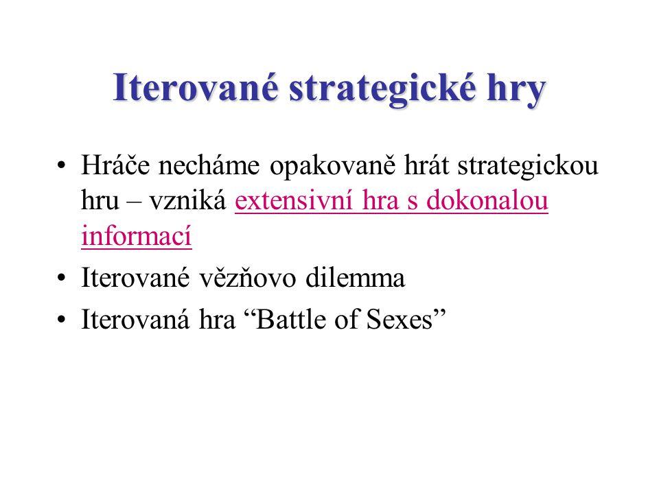 Iterované strategické hry Hráče necháme opakovaně hrát strategickou hru – vzniká extensivní hra s dokonalou informací Iterované vězňovo dilemma Iterovaná hra Battle of Sexes