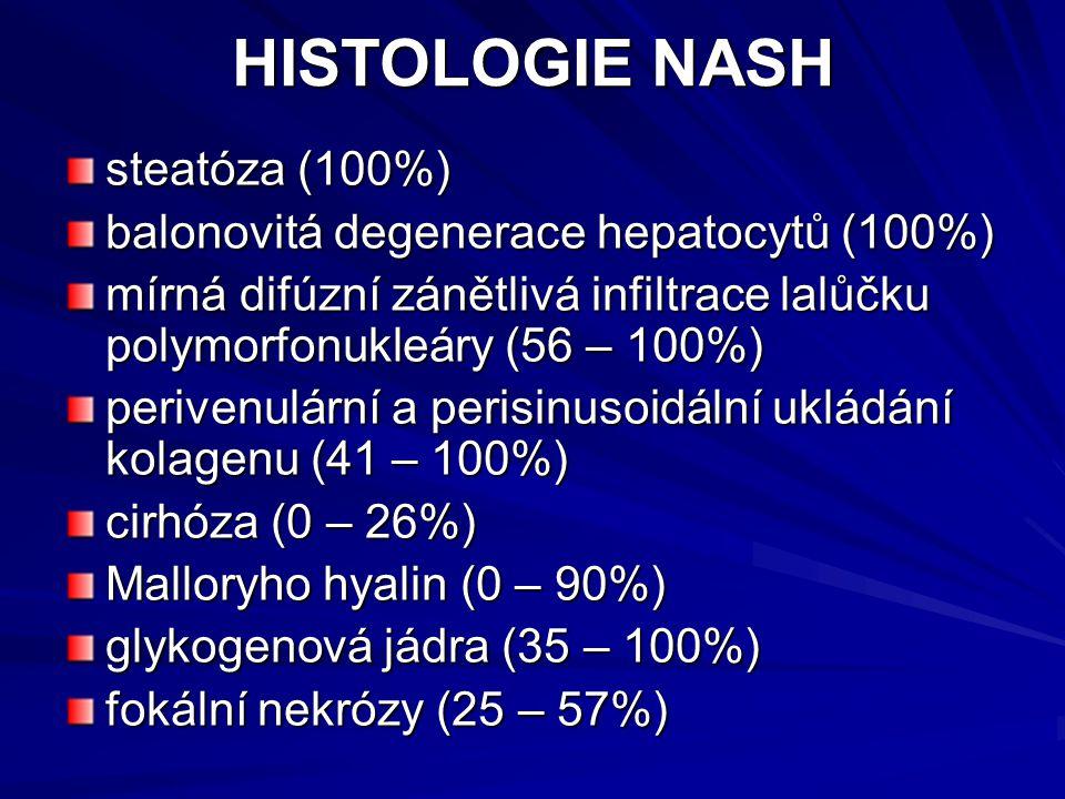 HISTOLOGIE NASH steatóza (100%) balonovitá degenerace hepatocytů (100%) mírná difúzní zánětlivá infiltrace lalůčku polymorfonukleáry (56 – 100%) perivenulární a perisinusoidální ukládání kolagenu (41 – 100%) cirhóza (0 – 26%) Malloryho hyalin (0 – 90%) glykogenová jádra (35 – 100%) fokální nekrózy (25 – 57%)
