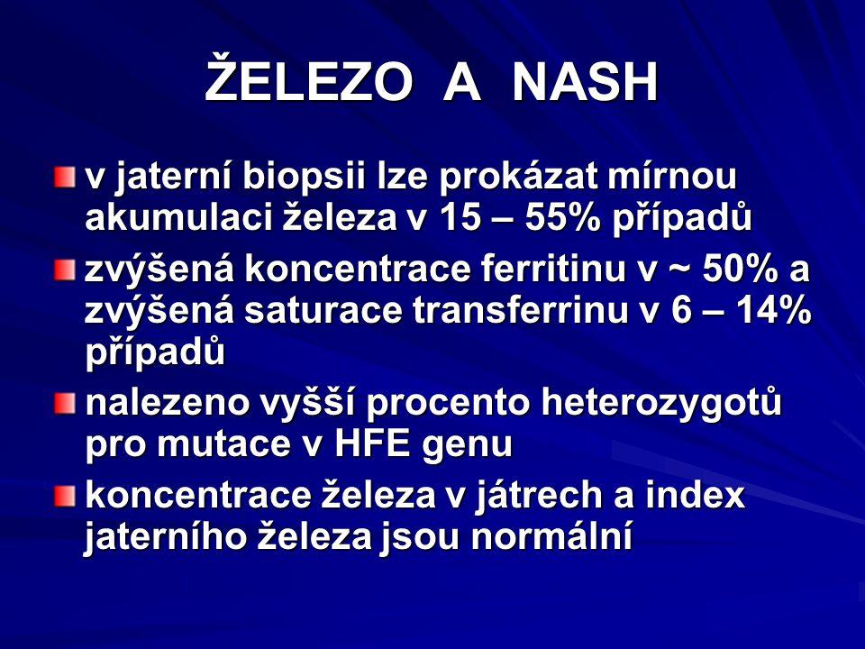 ŽELEZO A NASH v jaterní biopsii lze prokázat mírnou akumulaci železa v 15 – 55% případů zvýšená koncentrace ferritinu v ~ 50% a zvýšená saturace transferrinu v 6 – 14% případů nalezeno vyšší procento heterozygotů pro mutace v HFE genu koncentrace železa v játrech a index jaterního železa jsou normální