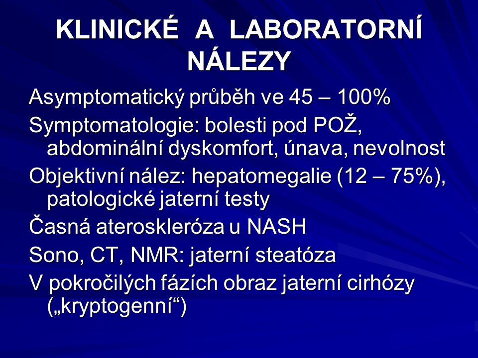 """KLINICKÉ A LABORATORNÍ NÁLEZY Asymptomatický průběh ve 45 – 100% Symptomatologie: bolesti pod POŽ, abdominální dyskomfort, únava, nevolnost Objektivní nález: hepatomegalie (12 – 75%), patologické jaterní testy Časná ateroskleróza u NASH Sono, CT, NMR: jaterní steatóza V pokročilých fázích obraz jaterní cirhózy (""""kryptogenní )"""