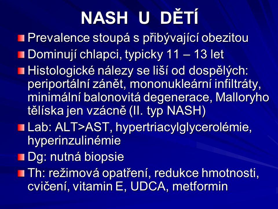 NASH U DĚTÍ Prevalence stoupá s přibývající obezitou Dominují chlapci, typicky 11 – 13 let Histologické nálezy se liší od dospělých: periportální zánět, mononukleární infiltráty, minimální balonovitá degenerace, Malloryho tělíska jen vzácně (II.