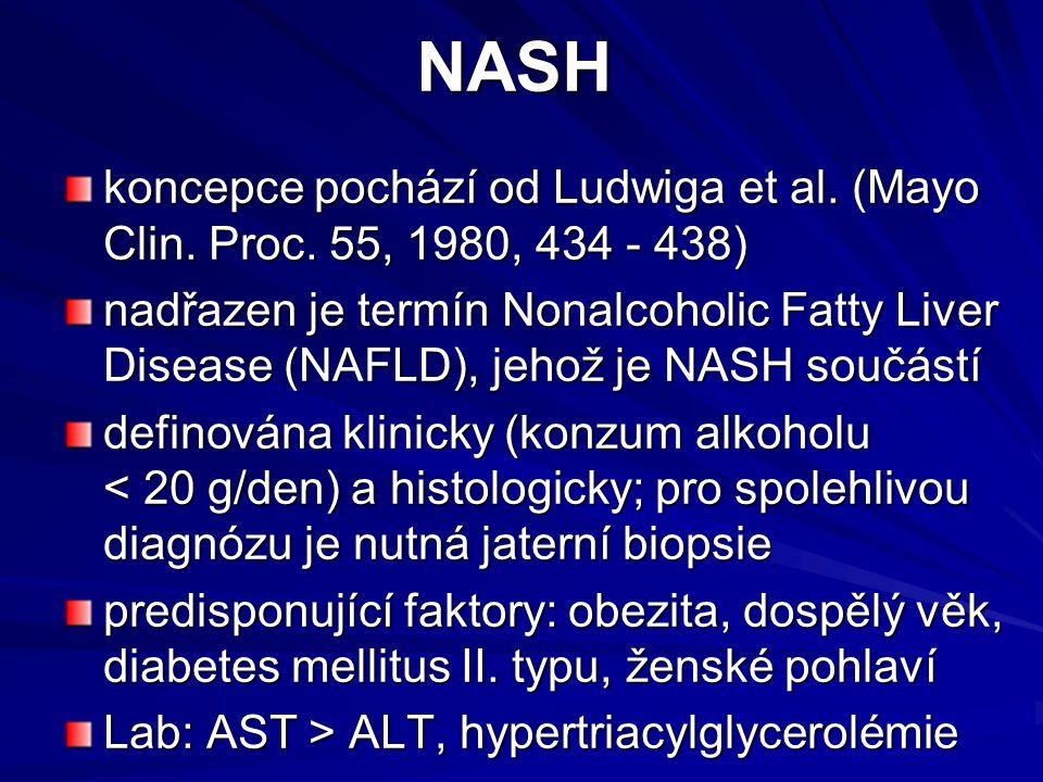 NASH koncepce pochází od Ludwiga et al. (Mayo Clin. Proc. 55, 1980, 434 - 438) nadřazen je termín Nonalcoholic Fatty Liver Disease (NAFLD), jehož je N