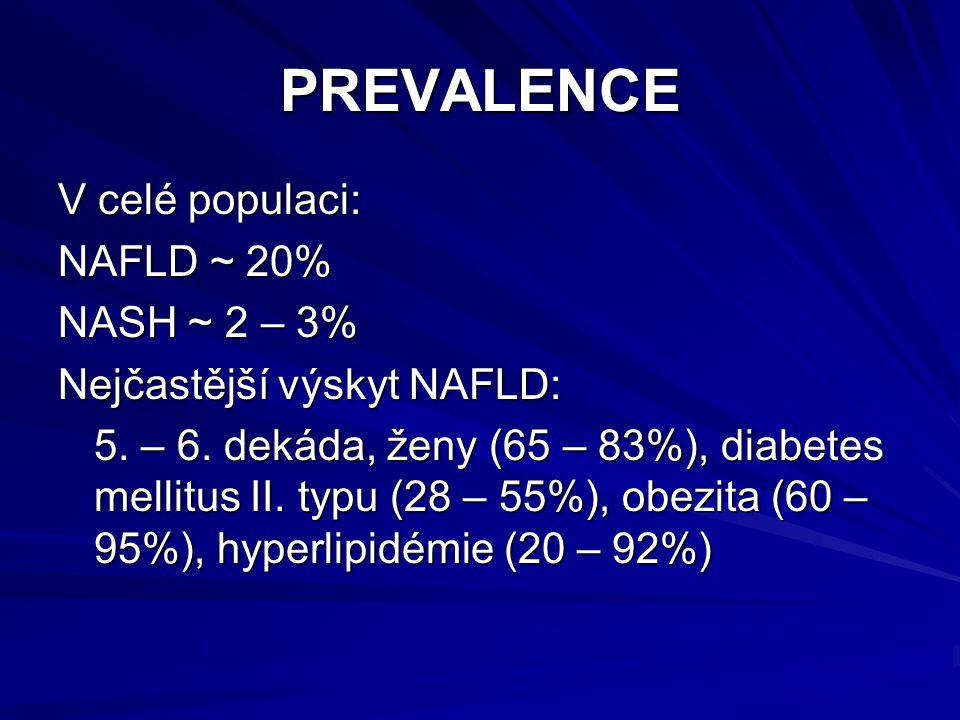 PREVALENCE V celé populaci: NAFLD ~ 20% NASH ~ 2 – 3% Nejčastější výskyt NAFLD: 5. – 6. dekáda, ženy (65 – 83%), diabetes mellitus II. typu (28 – 55%)