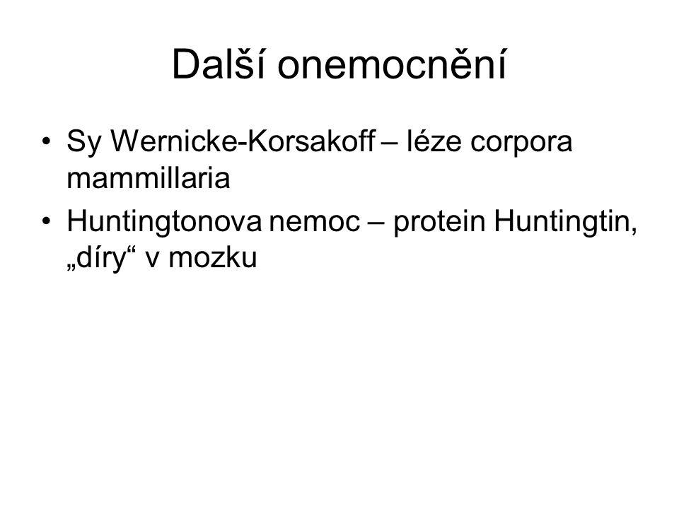 """Další onemocnění Sy Wernicke-Korsakoff – léze corpora mammillaria Huntingtonova nemoc – protein Huntingtin, """"díry"""" v mozku"""