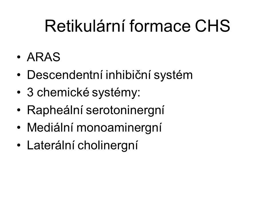 Retikulární formace CHS ARAS Descendentní inhibiční systém 3 chemické systémy: Rapheální serotoninergní Mediální monoaminergní Laterální cholinergní