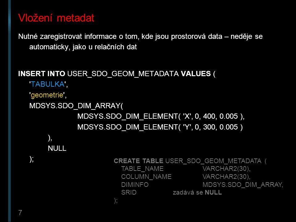 8 Vytvoření tabulky Jméno a sloupec musí korespondovat s metadaty CREATE TABLE TABULKA ( jméno_věci VARCHAR2(32), geometrie MDSYS.SDO_GEOMETRY );
