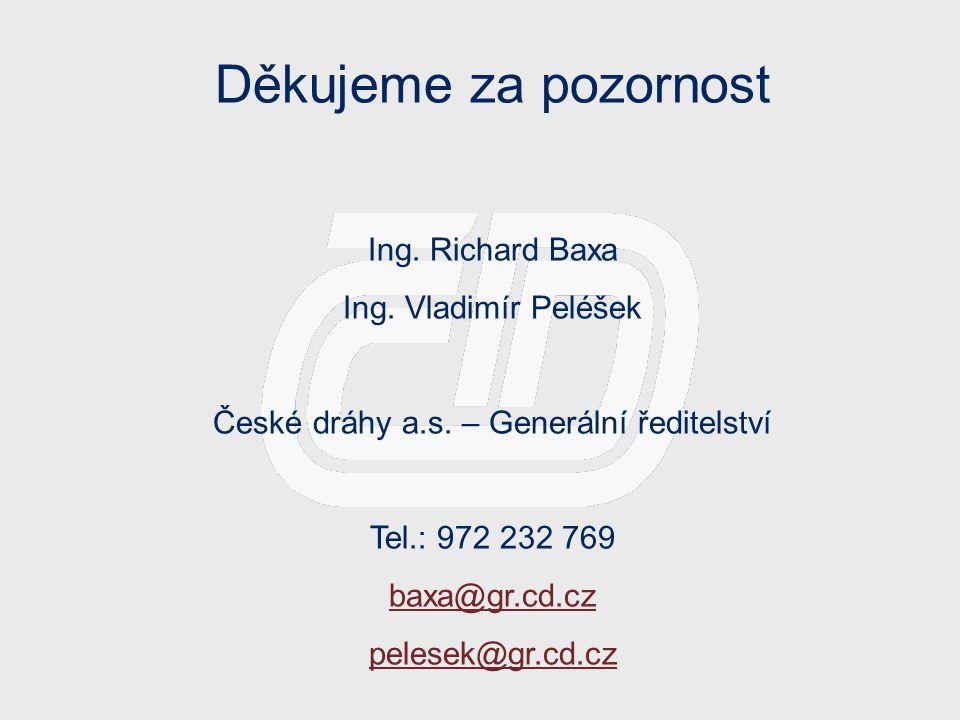 Děkujeme za pozornost Ing. Richard Baxa Ing. Vladimír Peléšek České dráhy a.s. – Generální ředitelství Tel.: 972 232 769 baxa@gr.cd.cz pelesek@gr.cd.c
