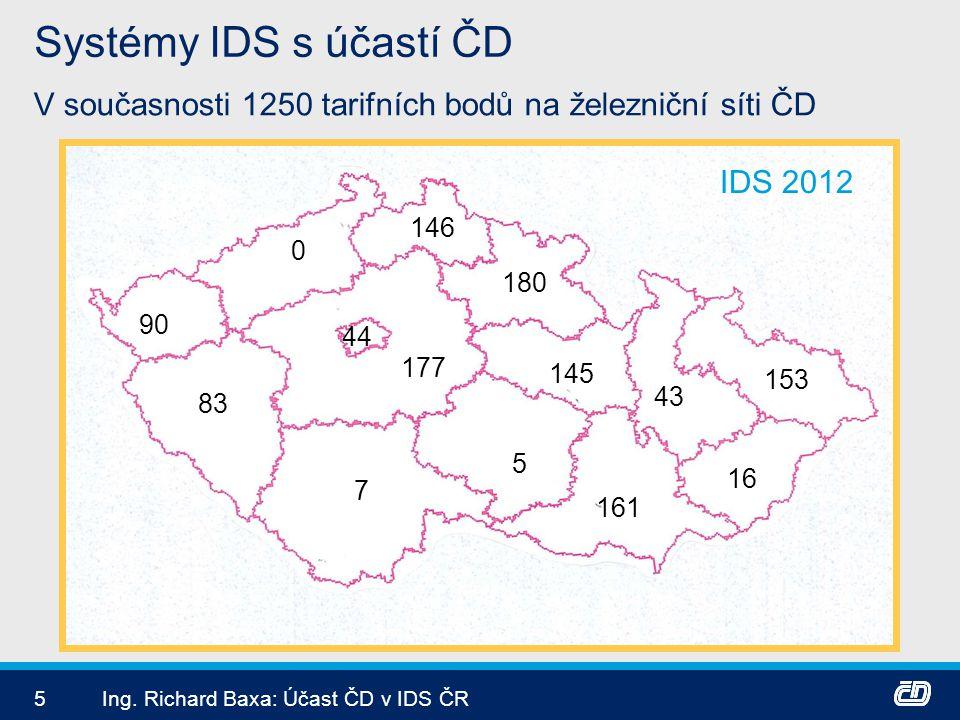 5Ing. Richard Baxa: Účast ČD v IDS ČR Systémy IDS s účastí ČD V současnosti 1250 tarifních bodů na železniční síti ČD 44 177 153 16 83 90 7 5 161 146