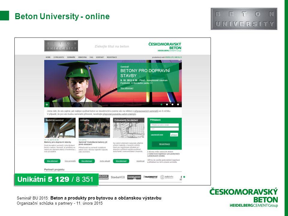 Beton University - online Unikátní 5 129 / 8 351 Seminář BU 2015: Beton a produkty pro bytovou a občanskou výstavbu Organizační schůzka s partnery - 11.