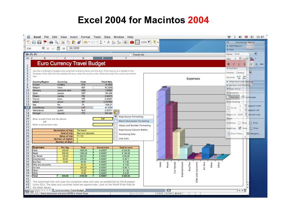 Excel 2004 for Macintos 2004