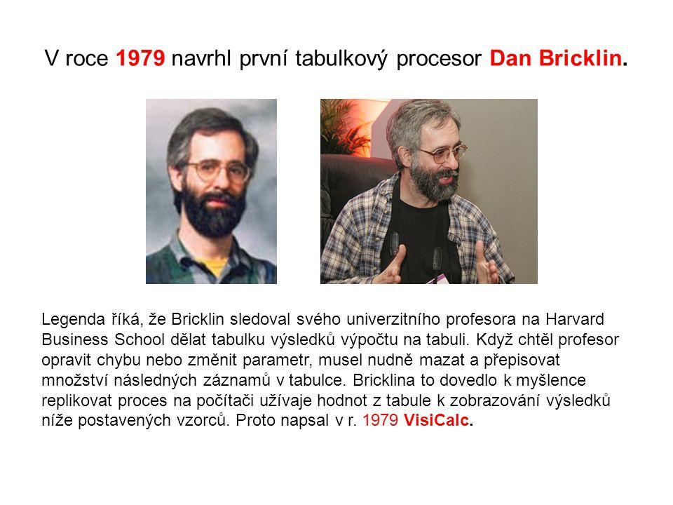 V roce 1979 navrhl první tabulkový procesor Dan Bricklin. Legenda říká, že Bricklin sledoval svého univerzitního profesora na Harvard Business School