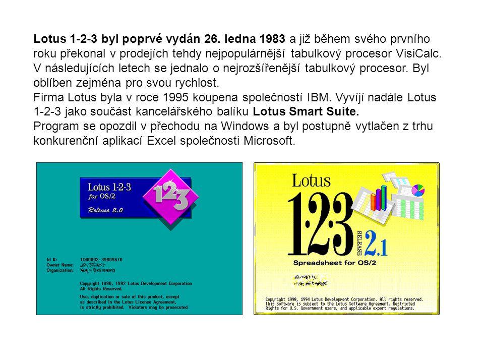 Lotus 1-2-3 byl poprvé vydán 26. ledna 1983 a již během svého prvního roku překonal v prodejích tehdy nejpopulárnější tabulkový procesor VisiCalc. V n