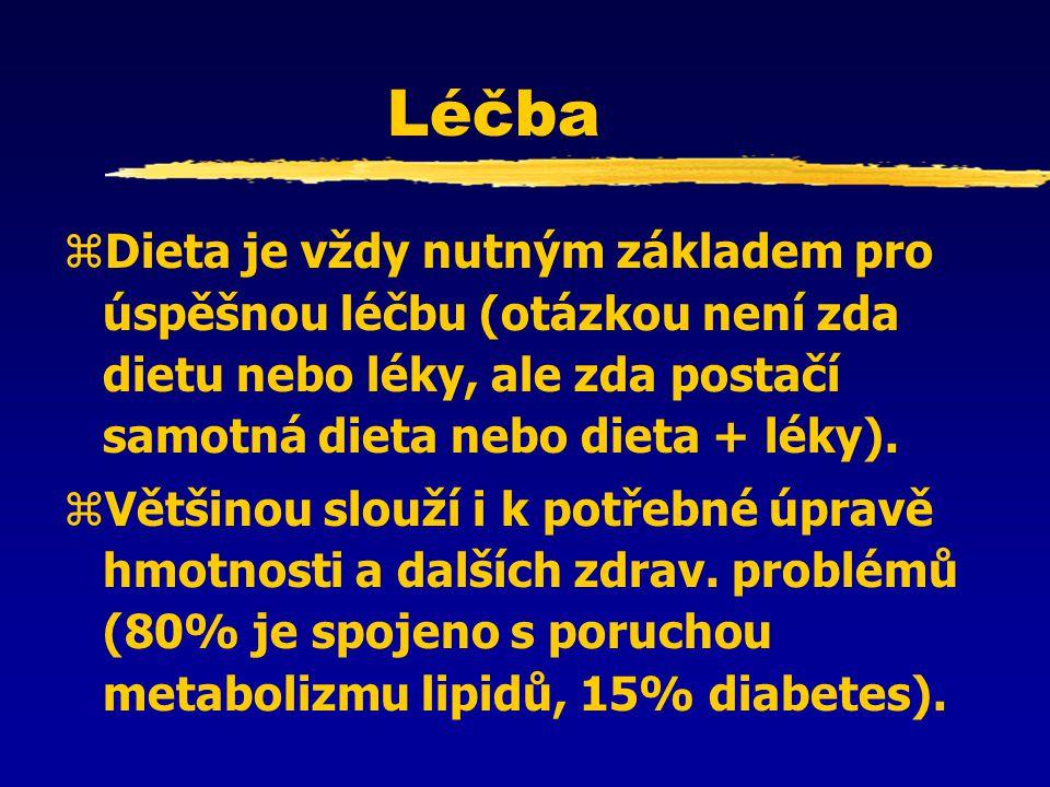 Léčba zDieta je vždy nutným základem pro úspěšnou léčbu (otázkou není zda dietu nebo léky, ale zda postačí samotná dieta nebo dieta + léky). zVětšinou