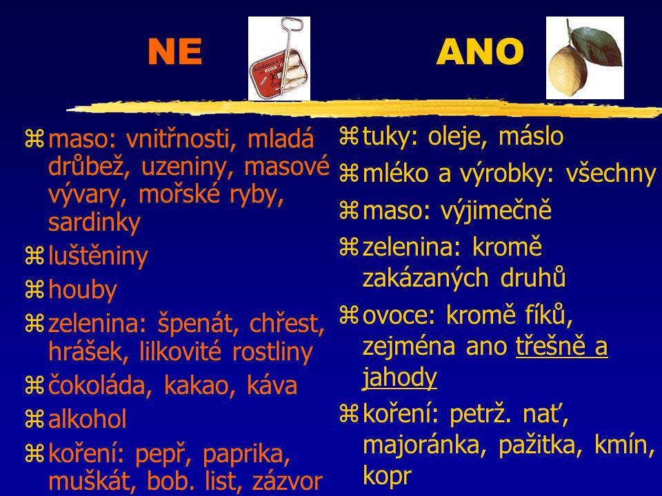 NE ANO zmaso: vnitřnosti, mladá drůbež, uzeniny, masové vývary, mořské ryby, sardinky zluštěniny zhouby zzelenina: špenát, chřest, hrášek, lilkovité r