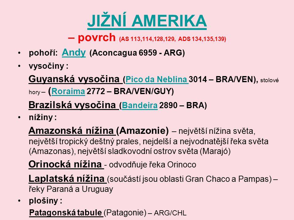 JIŽNÍ AMERIKA JIŽNÍ AMERIKA – povrch (AS 113,114,128,129, ADS 134,135,139) pohoří: Andy (Aconcagua 6959 - ARG) Andy vysočiny : Guyanská vysočina (Pico