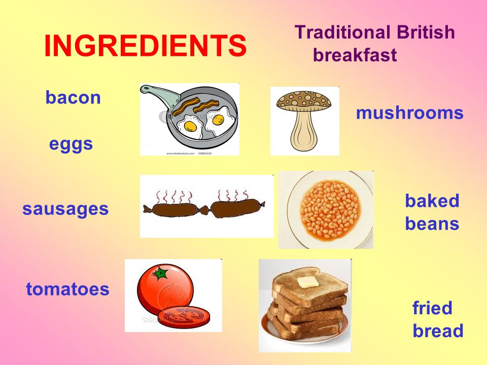 INGREDIENTS bacon Traditional British breakfast eggs sausages tomatoes mushrooms baked beans fried bread