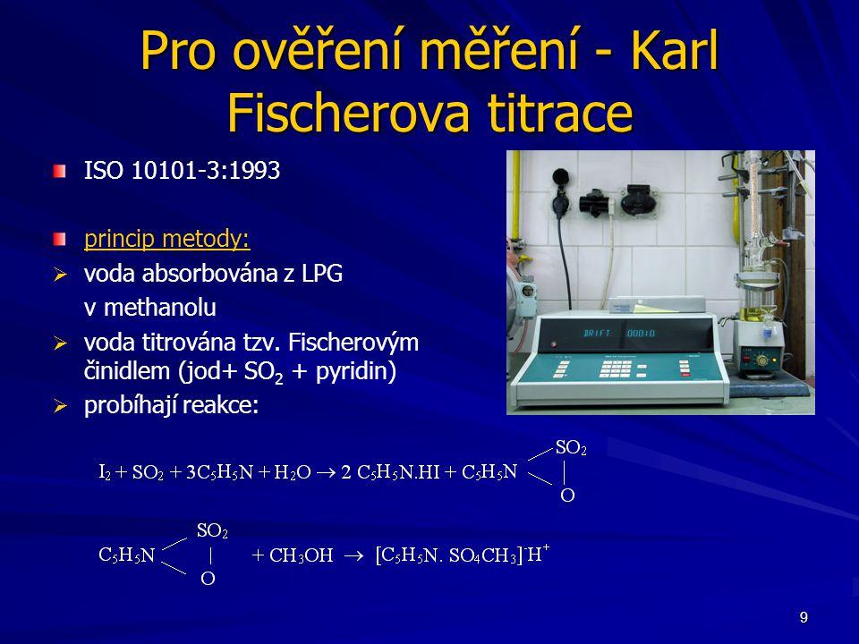 9 Pro ověření měření - Karl Fischerova titrace ISO 10101-3:1993 princip metody:   voda absorbována z LPG v methanolu   voda titrována tzv.