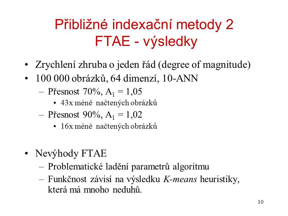 10 Přibližné indexační metody 2 FTAE - výsledky Zrychlení zhruba o jeden řád (degree of magnitude) 100 000 obrázků, 64 dimenzí, 10-ANN –Přesnost 70%, A 1 = 1,05 43x méně načtených obrázků –Přesnost 90%, A 1 = 1,02 16x méně načtených obrázků Nevýhody FTAE –Problematické ladění parametrů algoritmu –Funkčnost závisí na výsledku K-means heuristiky, která má mnoho neduhů.