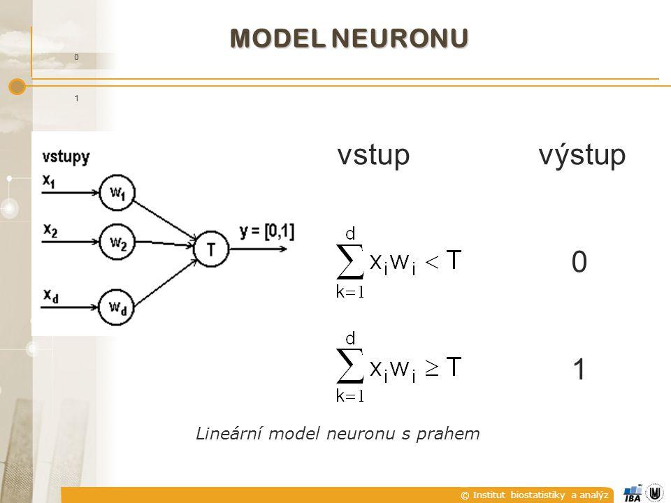 © Institut biostatistiky a analýz vstupvýstup 0 1 MODEL NEURONU 0 1 Lineární model neuronu s prahem