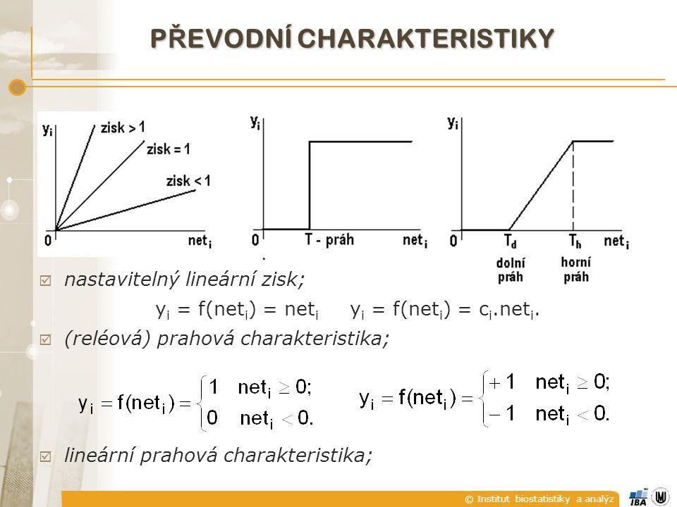 © Institut biostatistiky a analýz P Ř EVODNÍ CHARAKTERISTIKY  nastavitelný lineární zisk; y i = f(net i ) = net i y i = f(net i ) = c i.net i.  (rel