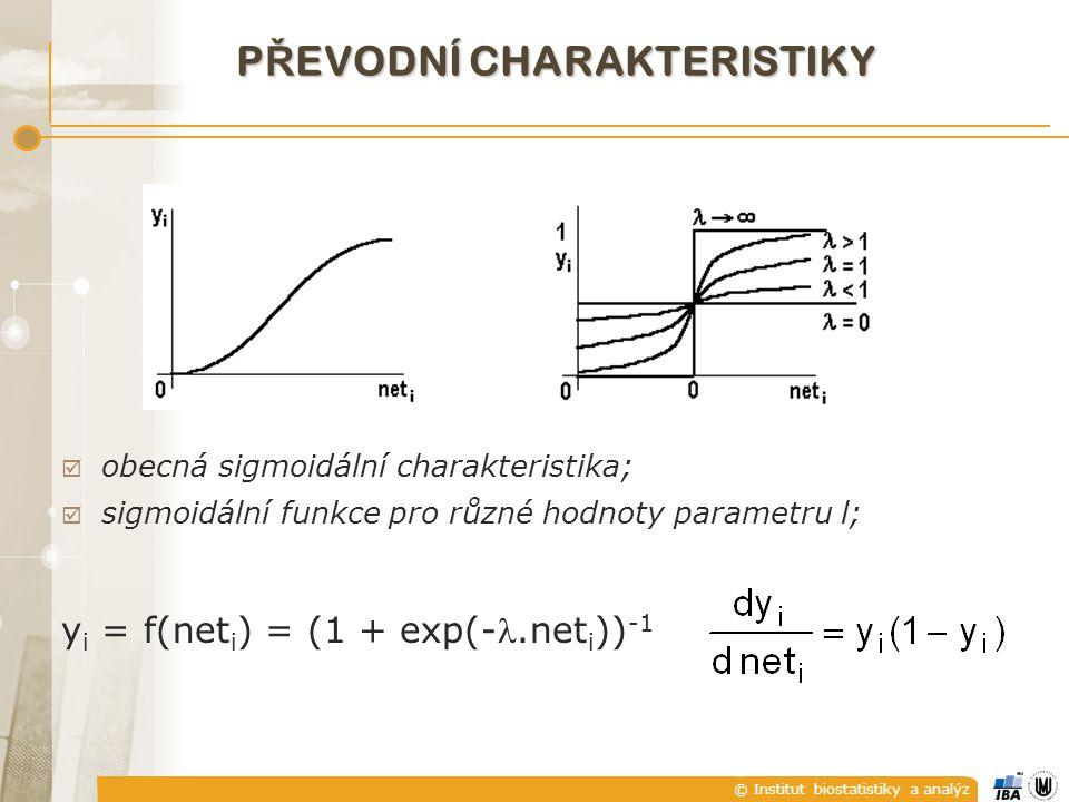 © Institut biostatistiky a analýz P Ř EVODNÍ CHARAKTERISTIKY  obecná sigmoidální charakteristika;  sigmoidální funkce pro různé hodnoty parametru l;