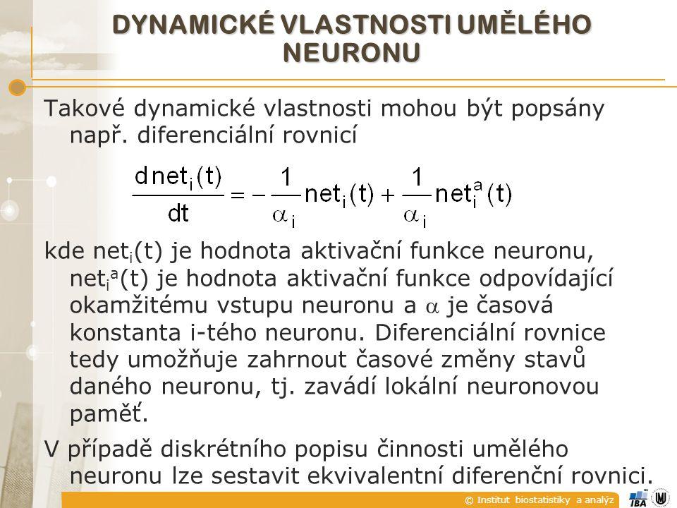 © Institut biostatistiky a analýz Takové dynamické vlastnosti mohou být popsány např. diferenciální rovnicí kde net i (t) je hodnota aktivační funkce