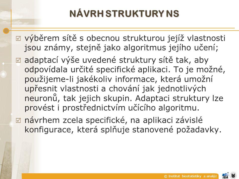 © Institut biostatistiky a analýz NÁVRH STRUKTURY NS  výběrem sítě s obecnou strukturou jejíž vlastnosti jsou známy, stejně jako algoritmus jejího uč