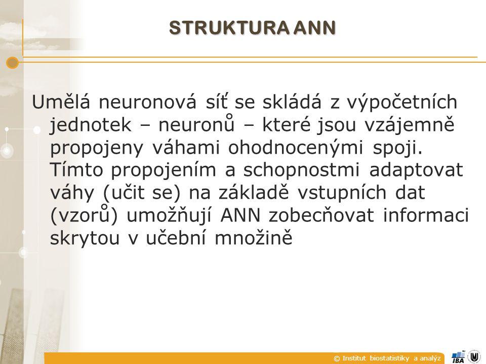 © Institut biostatistiky a analýz STRUKTURA ANN Umělá neuronová síť se skládá z výpočetních jednotek – neuronů – které jsou vzájemně propojeny váhami