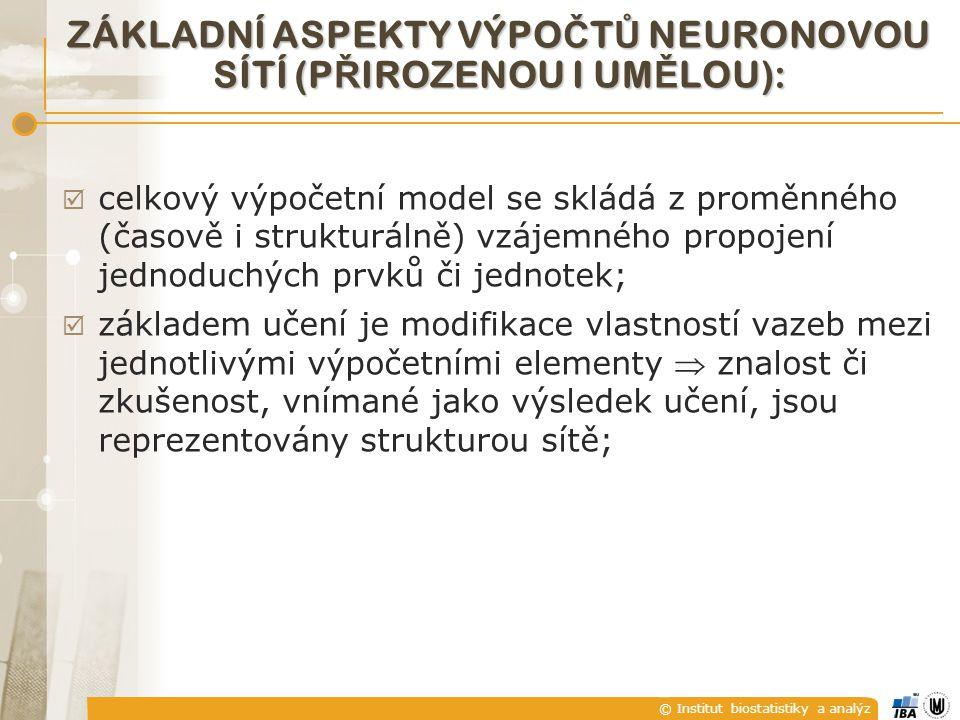 © Institut biostatistiky a analýz ZÁKLADNÍ ASPEKTY VÝPO Č T Ů NEURONOVOU SÍTÍ (P Ř IROZENOU I UM Ě LOU):  celkový výpočetní model se skládá z proměnn