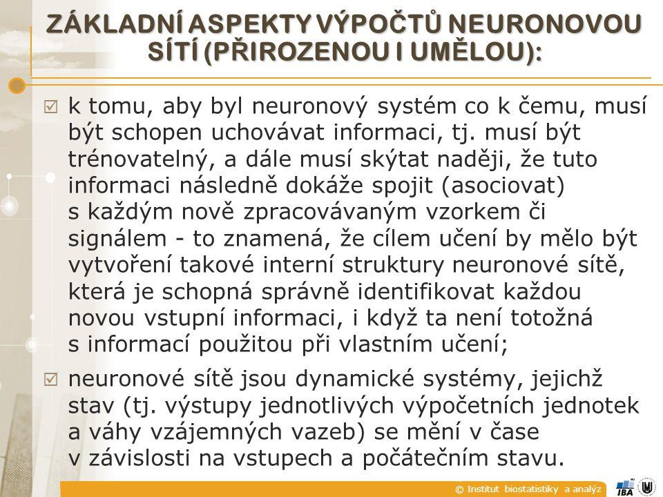 © Institut biostatistiky a analýz ZÁKLADNÍ ASPEKTY VÝPO Č T Ů NEURONOVOU SÍTÍ (P Ř IROZENOU I UM Ě LOU):  k tomu, aby byl neuronový systém co k čemu,