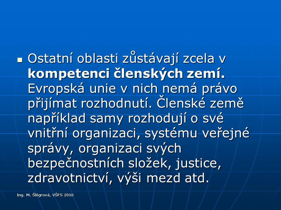 Ing.M. Šlégrová, VŠFS 2010 Ostatní oblasti zůstávají zcela v kompetenci členských zemí.