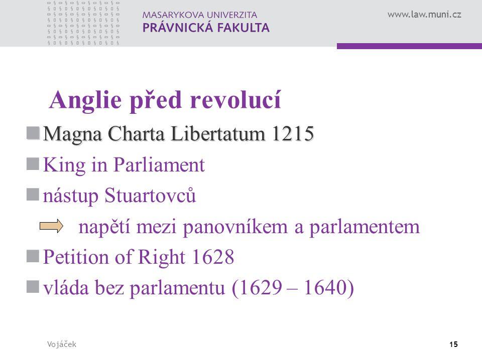 www.law.muni.cz Vojáček15 Anglie před revolucí Magna Charta Libertatum 1215 Magna Charta Libertatum 1215 King in Parliament nástup Stuartovců napětí m