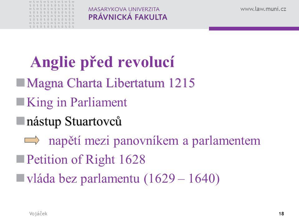 www.law.muni.cz Vojáček18 Anglie před revolucí Magna Charta Libertatum 1215 Magna Charta Libertatum 1215 King in Parliament nástup Stuartovců nástup S