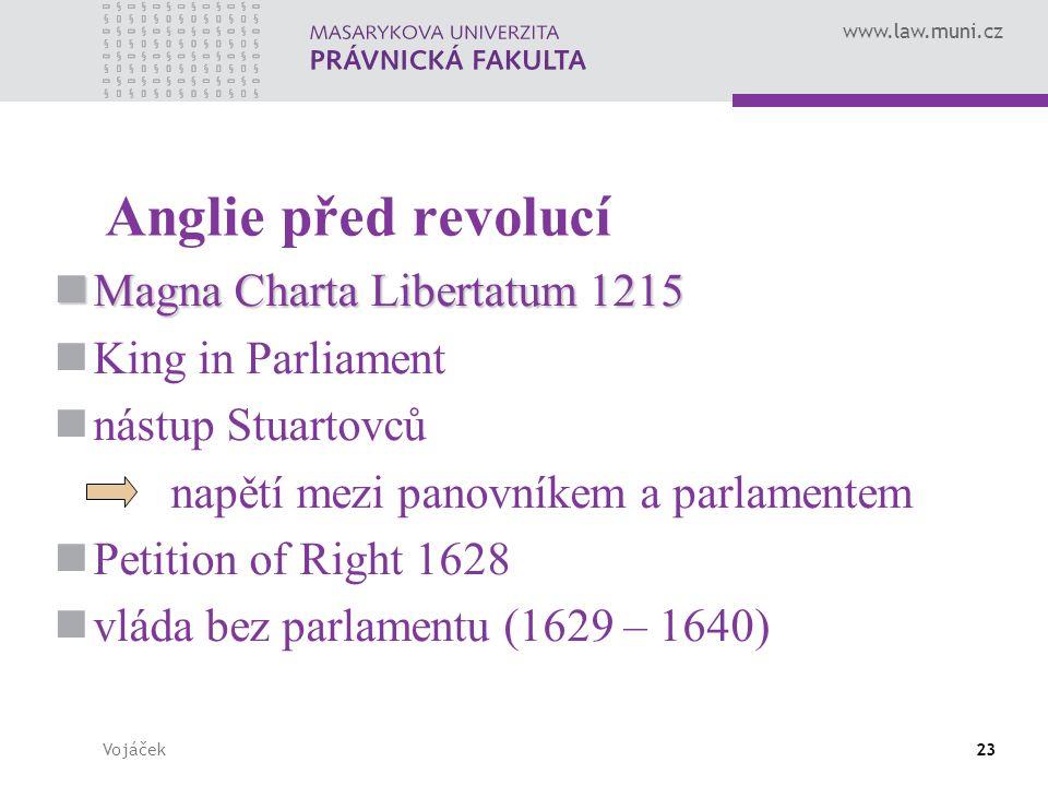 www.law.muni.cz Vojáček23 Anglie před revolucí Magna Charta Libertatum 1215 Magna Charta Libertatum 1215 King in Parliament nástup Stuartovců napětí m