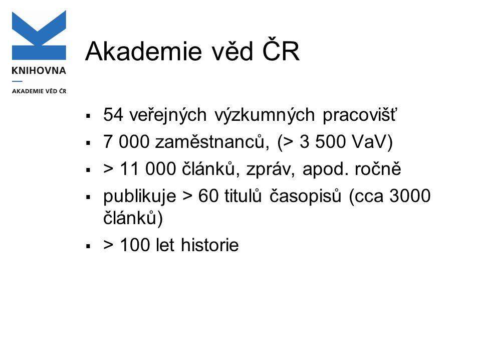 Akademie věd ČR  54 veřejných výzkumných pracovišť  7 000 zaměstnanců, (> 3 500 VaV)  > 11 000 článků, zpráv, apod.