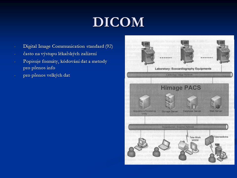 DICOM - Digital Image Communication standard (92) - často na výstupu lékařských zařízení - Popisuje formáty, kódování dat a metody pro přenos info - p
